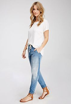 These def. don't look this cute on me as they do on her  - however they are PERFECT for working in the garden.  Stretch Denim Joggers   Forever 21 - 2000135535