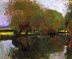 """A Backwater at Calcot Near Reading,"" John Singer Sargent, 1888, oil on canvas, 25 x 29 3/4"", private collection."
