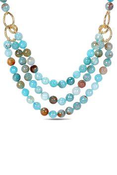 600 Ct Aqua Blue Agate & Gemstone Three Strand Necklace
