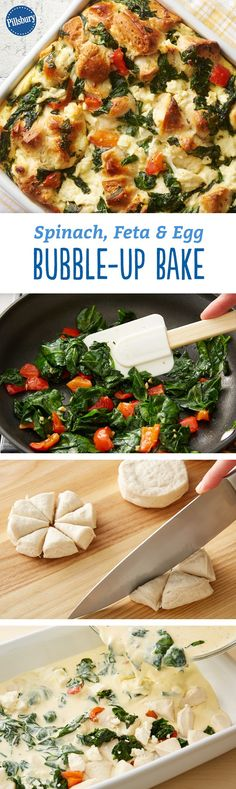 Spinach, Feta and Egg Bubble-Up Bake - This egg casserole combines spinach, red bell pepper and salty feta cheese for a delicious new take on breakfast or brunch.
