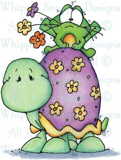 Turtle with Frog - Frogs - Animals - Rubber Stamps - Shop