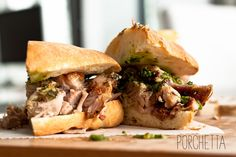 Probably not diet-friendly, but absolutely irresistable. Porchetta and Salsa Verda Sandwhich. Watch out!