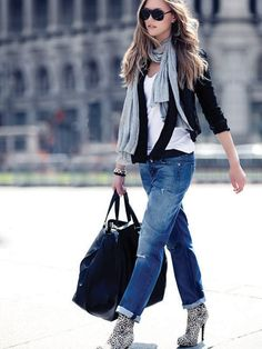 Boyfriend jeans look amazing paired with that sick grey scarf and blackest black shades!