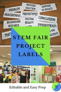 Guide your students to create their own STEM fair project board labels.  Using Microsoft Publisher students can choose their font, color, and border to make their project original.  Parents also find it useful to help their children take ownership of their projects.  We include a project layout guide too.