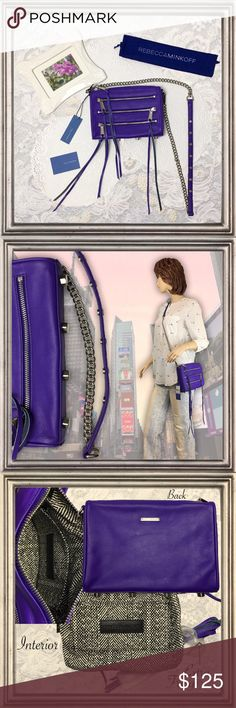 Rebecca Minkoff Mini 5 Zip Hyper Purple Crossbody Mini 5-Zip Hyper Purple bag. This style goes from day to night with an edgy flair.  3 Signature Zips along front, top being a functional pocket. Solid Silver tone chain & leather strap that can be singled, doubled or removed to convert to a clutch. Silver tone studs on leather of strap. Edgy hex studs along bottom of bag. Exclusive Signature print lining with back wall slip pocket & leather label.   Tag, care card, extra tassels & dust cover…