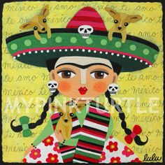 """FRIDA KAHLO with Chihuahuas and Sombrero 8"""" x 8"""" giclee PRINT of Day of the Dead Dia de Muertos painting by LuLu Mypinkturtle available in my Etsy shop here  https://mypinkturtleshop.etsy.com"""