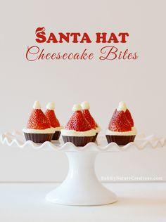 Santa Hat Cheesecake Bites http://bubblynaturecreations.com/2013/12/santa-hat-cheesecake-bites.html