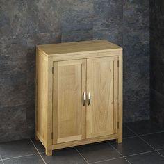 Solid Oak Bathroom Furniture Vanity Cabinet Cupboard Storage Unit by Oak Bathroom Cabinets, Oak Bathroom Furniture, Bathroom Vanity Storage, Wood Storage Cabinets, Door Storage, Cupboard Storage, Solid Oak, Family Bathroom, Bathroom Ideas