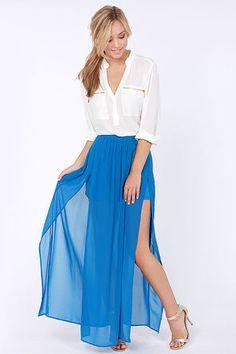 Cute Blue Skirt - Maxi Skirt - Slit Skirt - High-Waisted Skirt - $39.00