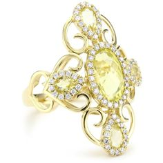 "Katie Decker ""Tudor"" 18k Lemon Quartz and Diamond Catherine Ring"