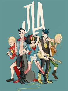 Floppy mohawks isn't cannon, but being awesome is! The Justice League as a punk band by Annie Wu. I love how Super Man looks like Danzig's super hero alter ego.