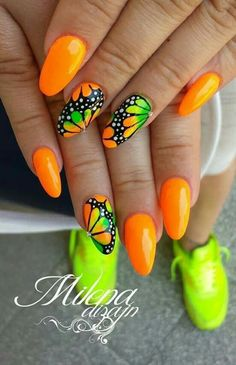 Trendy Summer Manicure – TOP Wonderful Inspirations for Summer Nails … – neon nail art Neon Nail Art, Neon Nails, Cute Acrylic Nails, My Nails, Fabulous Nails, Perfect Nails, Fancy Nails, Cute Nails, Pretty Nails