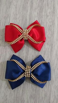 X1 Clip Set Of 2 Large Beautiful Fabric Hair Bows X1 Hair Bobble Mermaid Evident Effect