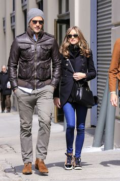 Olivia Palermo leopard sneakers jeans