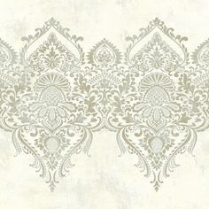 World Menagerie Menton L x W Wallpaper Roll Color: Cream Damask Wallpaper, Embossed Wallpaper, Brick Wallpaper, Wallpaper Panels, Wallpaper Roll, Peel And Stick Wallpaper, Bead Embroidery Patterns, Hand Embroidery Designs, Victorian Pattern