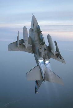 Fighter Jet in Back Flip Action