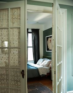 french doors for master bedroom with lace curtains