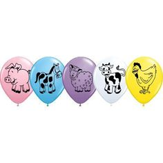 Fun 11'' latex balloons with farm animals in assorted colors like yellow and chicken, white and cow, and blue with a horse. Perfect for baby showers, birthdays, and other fun Spring and Summer party e