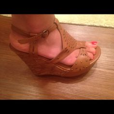 Camel colored wedges Worn once. Bought from rue 21, size is  8/9 L. I wear a size 8 and theres a little extra room, i would say they would fit a size 8.5 very well. Very cute with sundresses. Rue 21 Shoes