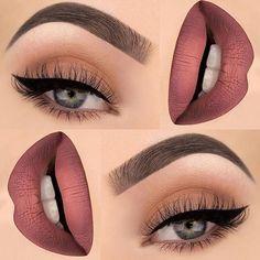 Makeup - Light Red & Orange Lipstick with Cream & Orange Eyeshadow with Black Winged Eyeliner & Mascara Gorgeous Makeup, Pretty Makeup, Love Makeup, Makeup Inspo, Makeup Inspiration, Glam Makeup, Peach Makeup, Formal Makeup, Awesome Makeup