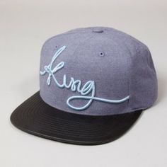 King Signature Blue with Black Peak Snapback Hat Cap Snapback Cap, Street Wear, Baseball Hats, King, Today's Outfit, Blue, Accessories, Clothes, Prints