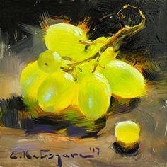 The Green Bunch by Elena Katsyura Oil ~ 6 in x 6 in