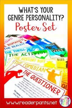 This poster set goes with my popular What's Your Genre Personality? Quiz on TPT. These posters are designed to complement the Secondary version of the quiz. They are great for library or classroom decor or in creating genre personality book displays. Reading Genres, Reading Logs, High School Books, Library Design, Library Ideas, Reading Incentives, Library Posters, Teacher Librarian, Reluctant Readers