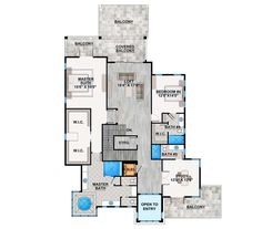 Spacious, Upscale Contemporary with Multiple Second Floor Balconies - 86033BW   Architectural Designs - House Plans