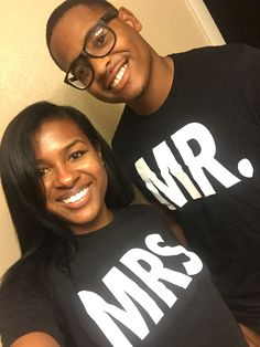 The lovely newlyweds in their MarriageTees. Order your his and hers shirts today! www.marriagetees.com