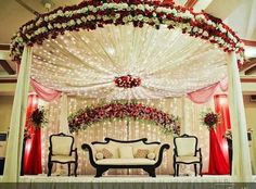 decoration_beautiful red and white roses_lightings Wedding Hall Decorations, Marriage Decoration, Reception Decorations, Wedding Backdrops, Pre Wedding Photoshoot, Wedding Stage, Wedding Goals, Wedding Ideas, Photoshoot Ideas