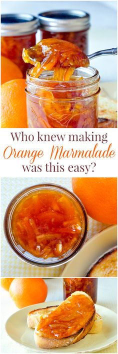 Orange Marmalade - I love giving food gifts during Christmas. Everyone seems to leave my house with something homemade. This is an easy, delicious choice for gift giving or to bring along as Hostess gifts when visiting friends.