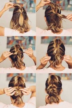 Fast Braided Low Bun for Short Hair Perfection #EasyHairstylesToDoOnYourself Funny Hairstyles, Newest Hairstyles, Hairstyle Ideas, Long Bob Hairstyles, 2017 Hairstyle, Braided Hairstyles, Short Braids, Short Hair Lengths, Braids For Short Hair
