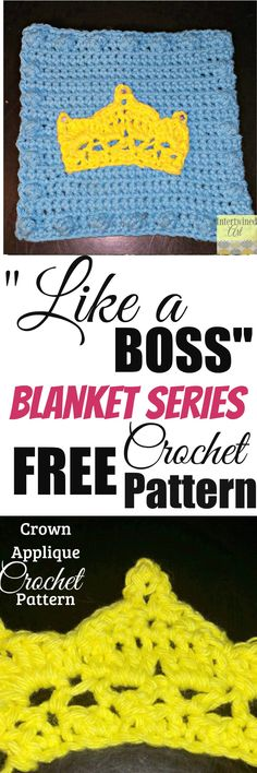 Like a Boss Blanket Series Crochet Crown Square Pattern. Keep your head high so your tiara doesn't fall.