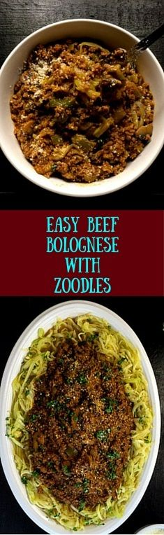 An incredibly rich and ultra-tasty gluten free - and Paleo without the cheese - this easy beef Bolognese with zoodles takes the guesswork out of making the perfect dinner meal for your family. Next-day leftovers are even tastier, making this a recipe you'll want to take to work over and over again. | http://asprinklingofcayenne.com