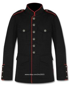 Mens Military Jacket Black Red Goth Steampunk Army Officer Pea Coat #RoyalSwag #Military