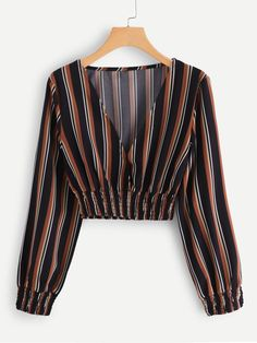 Boho Striped Top Regular Fit V neck Long Sleeve Pullovers Multicolor Crop Length Shirred Trim Plunge Striped Crop Top Casual Striped Top Regular Fit V Neck Long Sleeve Pullovers Multicolor Crop Length V neckline Striped Top Crop Top Outfits, Trendy Outfits, Cute Outfits, Vetement Fashion, Spring Shirts, Spring Blouses, Cropped Tops, Teen Crop Tops, Loose Shirts