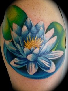 lilly pad flower tattoo | water lily tattoo.