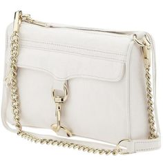Rebecca Minkoff MAC Clutch in White (€260) ❤ liked on Polyvore featuring bags, handbags, clutches, purses, bolsas, accessories, white leather handbags, leather crossbody purse, white handbags and genuine leather handbags