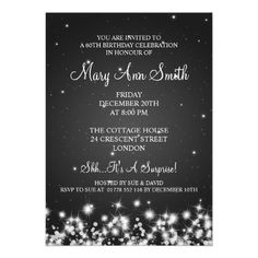 Snowflake 60th birthday invitation silver two photos honoree elegant 60th birthday party winter sparkle black card filmwisefo