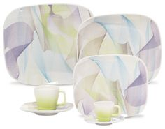 Karim Rashid-Shift Line-Fusion 20 pc Set modern-dinnerware-sets. Soft colors swirl about this lovely tabletop set. Salads are even more refreshing on these plates; entrees even more comforting; tea even more soothing out of these cups. One thing you can keep stimulating at your table: the conversation.