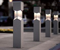 Knight Bollards and Pedestrian Lighting Concrete Light, Concrete Lamp, Concrete Design, Bollard Lighting, Home Lighting, Outdoor Lighting, Driveway Lighting, Exterior Lighting, Concrete Furniture