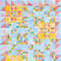 Use Double-Nine Patch blocks, star blocks, and a sawtooth border all made  from pastel fabric in a pretty wall hanging. Fabrics are from the Marblehead  Pleasing Pastels collection by Ro Gregg for Paintbrush Studio [1].   [1] http://fabri-quilt.com