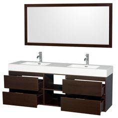 """Daniella 72"""" Double Espresso Bathroom Vanity Set with Mirror & Reviews   AllModern"""