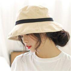 cb11966a464 Casual sun bucket hat for women cotton packable summer hats