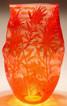 """Limited Edition Sand Carved Vessels  by Mary Mullaney of Heron Glass  """"Paintbrush"""" art glass."""