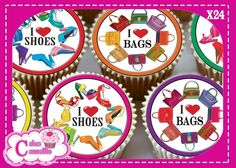 24 X I LOVE SHOES & HANDBAGS MIXED - EDIBLE CUPCAKE TOPPERS CAKE RICE PAPER 9492