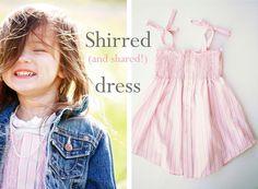 Shirred dress from mens shirt - cute idea!