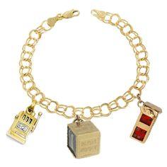 14k+Yellow+Gold+Gambling+Traditional+Charm+Bracelet