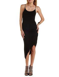 Ruched Asymmetrical Wrap Dress: Charlotte Russe #asymmetrical