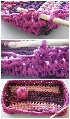 Cesta trapillo tutorial Cotton Cord, Handicraft, Macrame, Crochet Necklace, Knitting, Handmade, Crafts, Crochet Baskets, Mesh